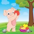 Piglet with apples. illustration