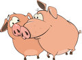 Pigs cartoon two lovely pink embracing Stock Image