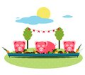 Pigs eating food at farm funny small having party vector illustration eps no effects Royalty Free Stock Photos
