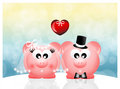 Pigs in love abstract illustration Stock Image