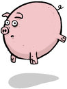 Pigs might fly cartoon character illustration of a flying pig full of lies and deceit Stock Photography