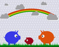 The pigs and rainbow illustration of three clouds Stock Image