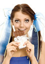 Pigtails girl with chocolate Royalty Free Stock Images