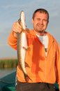 Pike in fisherman s hand fishing volga Stock Images
