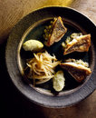 Pike-perch with chicory and mashed potatoes Royalty Free Stock Images
