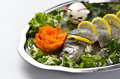 Pike perch elegant dish served of with lemon carrot and decorated egg Royalty Free Stock Photos