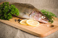 Pike perch on a kitchen board Stock Image