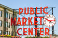 Pike Place Market Neon Sign Royalty Free Stock Photo