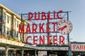 Pike Place Market Neon Sign at sunset Royalty Free Stock Photo