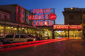 Pike place market at night neon public sign in seattle washington long exposure Royalty Free Stock Image