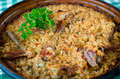 Pilaf romanian recipe with free range chicken meat Royalty Free Stock Images