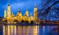Pilar Basilica by night in Zaragoza, Spain Royalty Free Stock Photo