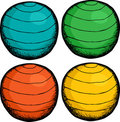 Pilates Ball Colors Stock Photo