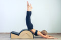 Pilates, fitness, sport, training and people Royalty Free Stock Photo