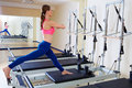 Pilates reformer woman russian split exercise Royalty Free Stock Photo