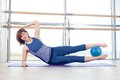 Pilates woman stability ball gym fitness yoga Royalty Free Stock Photo