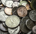 Pile of american coins us money one dollar coin close up on a with main focus on Royalty Free Stock Image