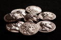 Pile of ancient greek silver coins Royalty Free Stock Photo