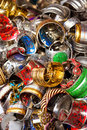 Pile of assorted costume jewelery many bracelets for sale Royalty Free Stock Photos