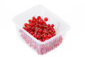 Pile berries of red currant on white background in plastic box isolated Stock Photography
