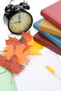 Pile of books, and autumn leaves Stock Images