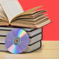 Pile of books and DVD Royalty Free Stock Photo