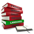 Pile of books - Languages Stock Image
