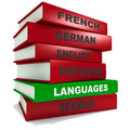 Pile of books - languages Royalty Free Stock Images
