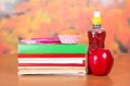 Pile of books and red apple Royalty Free Stock Photo