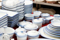 A pile of bowls and plates Royalty Free Stock Photo