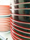 A pile of bowls in a restaurant Royalty Free Stock Photo