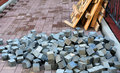 Pile of bricks and pieces of scaffolding Royalty Free Stock Photo