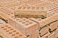 Pile of bricks stack red clay Stock Image