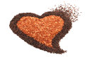 Pile of brown rice in heart shape Stock Photography
