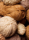Pile of brown yarn Stock Photo