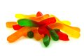Pile of candy gummy worms over white a background Royalty Free Stock Photos