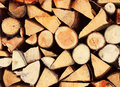 Pile chopped fire wood Stock Photo