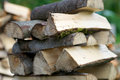 Pile of chopped logs closeup aspen Stock Image