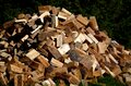 A pile of chopped wood for heating in the cottage, it is spruce and pine wood chopped with an ax or splitter, sunny Royalty Free Stock Photo
