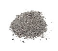 Pile cigarette ash isolated on white Royalty Free Stock Photo