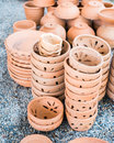 Pile of clay pots for plants and garden Stock Photography