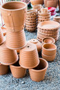 Pile of clay pots for plants and garden Stock Photo