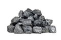 Pile of coal isolated on white Stock Image