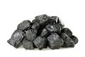 Pile of coal isolated on white background Stock Photos