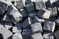 Pile of cobblestones with shadows and lights Royalty Free Stock Image