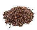 Pile of coffee beans isolated over white background view above Royalty Free Stock Photo