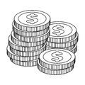 A pile of coins for reckoning in a casino. Gambling.Kasino single icon in outline style vector symbol stock illustration Royalty Free Stock Photo