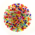 Pile of colorful glass beads isolated on white background round coloured for diy jewelry making a Stock Photography
