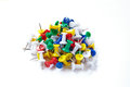 Pile of colorful office pins isolated on white Royalty Free Stock Photo
