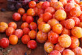 Pile of colorful summer fruits photography plums at the market Royalty Free Stock Photography
